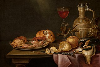 Still life with shrimps and crabs on a tin plate