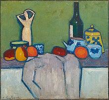Alexej von Jawlensky Stilleben mit Früchten Figur und Flasche 1907.jpg