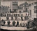 An auto-da-fé procession in a marketplace with priests carry Wellcome V0041649.jpg