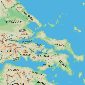 Achaea Phthiotis - Map of the regions of ancient Central Greece