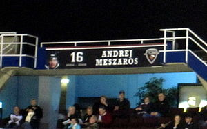 Andrej Meszároš - Meszaros' banner at the Pacific Coliseum, as part of the Vancouver Giants' Ring of Honour