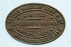 Andrew Barclay 0-6-0 Shunter Manufacture plate No 1874.jpg