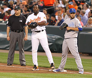Eric Hosmer - Hosmer playing in position with Vladimir Guerrero on first during a game against the Baltimore Orioles