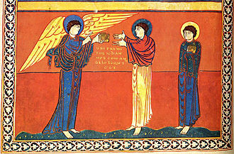 Events of Revelation - The angel gives St. John the Book of Revelation.