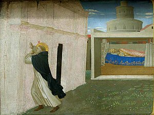 Coronation of the Virgin (Fra Angelico, Louvre) - Detail of the predella with the Dream of Innocent III.