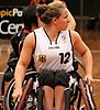 Germany's Annabel Breuer at the Germany vs Japan women's wheelchair basketball team at the Sports Centre in Sydney, July 2012