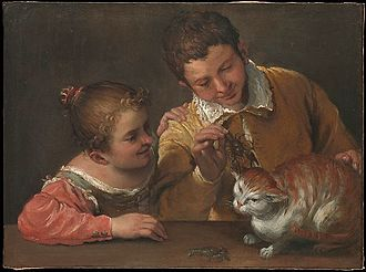 Teasing - Two Children teasing a cat by Annibale Carracci (current location Metropolitan Museum of Art)