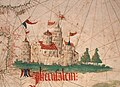 Anonimo portoghese, carta navale per le isole nuovamente trovate in la parte dell'india (de cantino), 1501-02 (bibl. estense) 15 gerusalemme.jpg