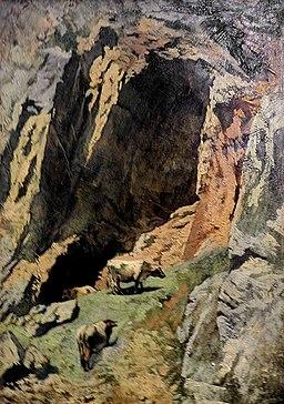 Anselm Feuerbach-Skalna szczelina z krowami
