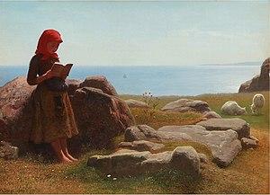 Anton Dorph - Summer Landscape, with Shepherdess Reading While her Flock Grazes