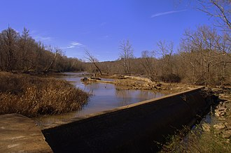 Upper Appomattox Canal Navigation System - The Abutment Dam, the Appomattox Canal Dam, brought water to the Upper Appomattox Canal.