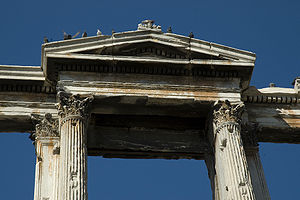 Geison - Horizontal and raking geisa of the Ionic/Corinthian order on the Arch of Hadrian.
