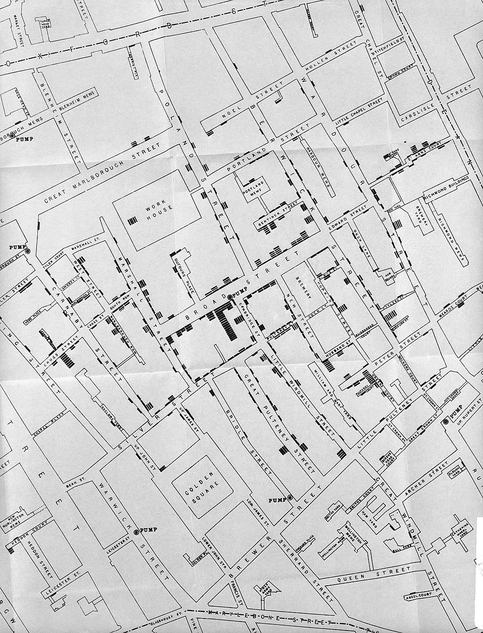 Area around Golden Square during Cholera Epidemic. Wellcome L0005796