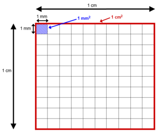 Area - Although there are 10 mm in 1 cm, there are 100 mm2 in 1 cm2.