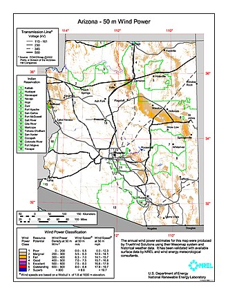 Wind power in Arizona - Average annual wind power density map for Arizona at 50m above ground