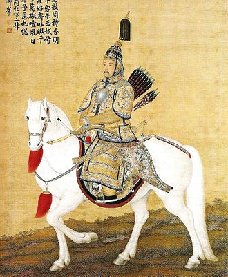 High Qing era - Kangxi Emperor showcasing his Manchu style horse riding