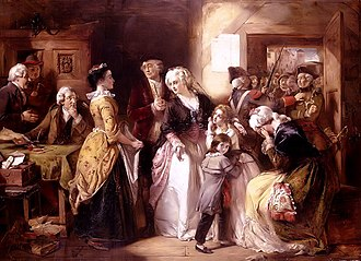 Flight to Varennes - Louis XVI and his family, dressed as bourgeois, arrested in Varennes. Picture by Thomas Falcon Marshall (1854)