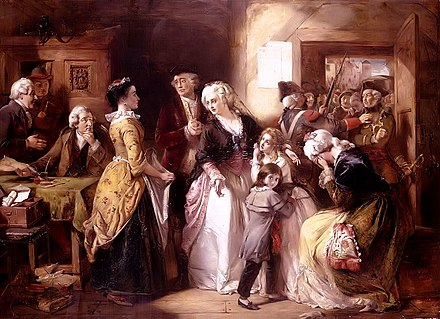 Arrest of the royal family at the house of the registrar of passports at Varennes night of 21-22 June 1791 (by Thomas Falcon Marshall, 1854) Arrest of Louis XVI and his Family, Varennes, 1791.jpg