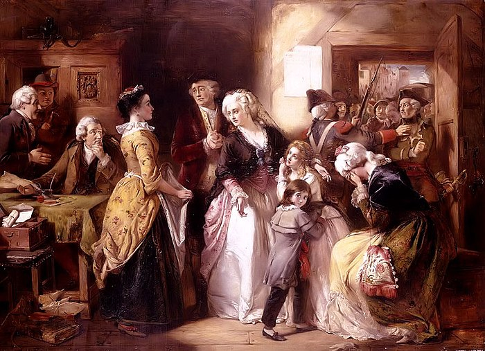 Louis XVI and his family, dressed as bourgeois, arrested in Varennes. Picture by Thomas Falcon Marshall (1854) Arrest of Louis XVI and his Family, Varennes, 1791.jpg