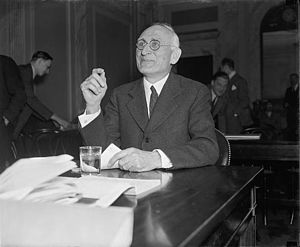 Arthur Ernest Morgan - Dismissed as TVA Chairman by President Franklin D. Roosevelt, Morgan testifies before a committee of the United States Congress in 1938.