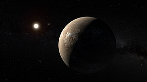 Proxima Centauri b - Artist's conception of Proxima Centauri b, with Proxima Centauri and the Alpha Centauri binary system in the background. The actual  appearance of the planet is unknown.