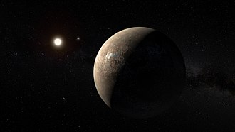 Proxima Centauri b - Artist's conception of Proxima Centauri b as a rocky-like exoplanet, with Proxima Centauri and the Alpha Centauri binary system in the background. The actual appearance of the planet is unknown.
