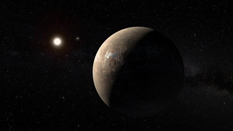 File:Artist's impression of Proxima Centauri b shown hypothetically as an arid rocky super-earth.jpg