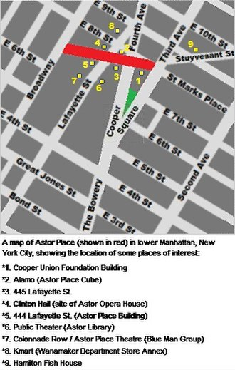 Astor Place - Image: Astor Place map locations