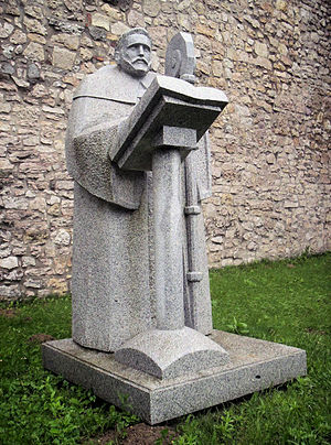 Pécsvárad Abbey - Modern sculpture of Astrik in Pécsvárad