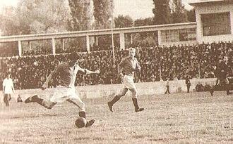 GFK Tikvesh - Atanas Trajkovski and Vuko Karov in attack, 1955–56