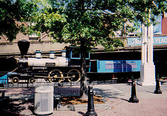 Underground Atlanta - Six Gun Territory No. 4 4-4-0 locomotive on display at the entrance of the Underground.