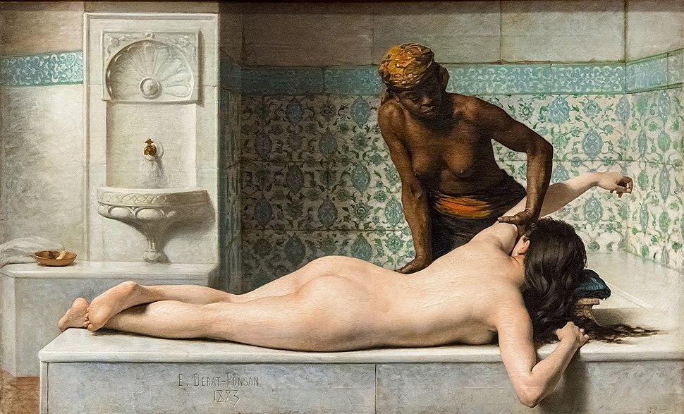 Augustins - Le Massage. Sc%C3%A8ne de hammam - Edouard Debat-Ponsan 1883