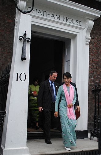 Chatham House - Daw Aung San Suu Kyi leaves Chatham House after addressing an event on responsible investment in Burma and receiving her Chatham House Prize, 22 June 2012