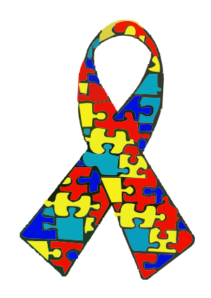 Autism awareness ribbon. The puzzle pattern re...