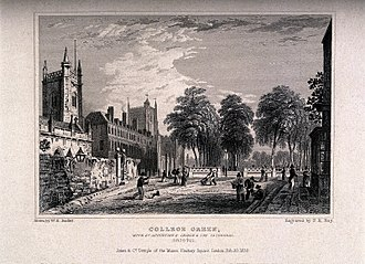"College Green, Bristol - Line engraving of ""Avenue leading to the College Green with St. Augustine's church and cathedral, Bristol"" by Frederick Rudolph Hay from a drawing by W.H. Bartlett"