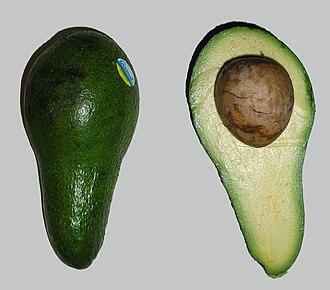 Плод авокадо (сорт 'Fuerte') целиком и в разрезе