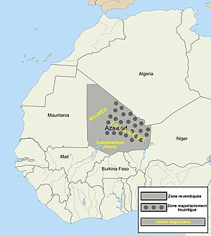 Azawad - Map of Azawad, as claimed by the MNLA. Dark grey dots indicate regions with a Tuareg majority. The west is mainly inhabited by Moors, and the south by sub-Saharan peoples.