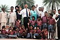 Barack Obama and the First Lady Mrs. Michelle Obama with the school children of traditional artisans who carried out renovation works at Humayun Tomb, during their visit at Humayun's Tomb, in New Delhi on November 07, 2010.jpg