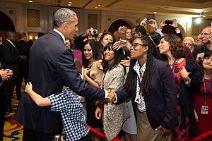 Embassy of the United States, New Delhi - President Obama greets U.S. Embassy personnel in New Delhi, 2015