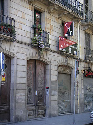 Confederación Nacional del Trabajo - The Barcelona offices of the CNT.