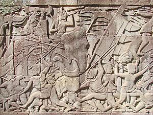 Pradal serey - Bas-reliefs du Bayon (Angkor) (6912560519)