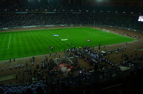 Basra International Stadium during the second opening friendly match between Al-Zawraa and Zamalek in 2013. Basra International Stadium Opening.JPG