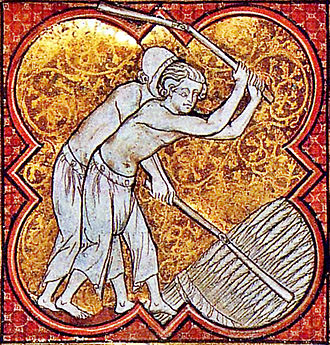 Flail - French peasants threshing with flails around 1270.