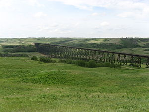 Battle River - Fabyan Trestle Bridge over the Battle River Valley near Wainwright