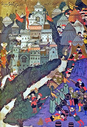 Ottoman Empire - Battle of Nicopolis in 1396. Painting from 1523.