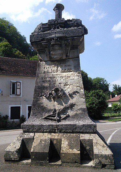 "Baume-les-Dames,  département du Doubs, France.  Palmipède steamship monument. ""In 1776, Jouffroy d'Abbans developed a 13 meter steamship, the Palmipède, in which the engine moved oars equipped with rotating blades. The ship sailed on the Doubs"" (Wikipedia)"