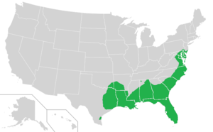 Myrica cerifera - Native range in the United States