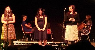 The Unthanks - Becky and Rachel Unthank with Niopha Keegan at Castle Armoury Drill Hall, Bury, Greater Manchester, on 17 October 2015