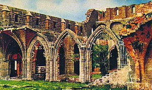 Canons Regular of the Holy Sepulchre - Ruins of the Bellapais Abbey in Cyprus (early 20th century).