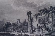 Il muro e la vecchia fontana in un'acquaforte di Carl Wilhelm Weisbrod (1806)